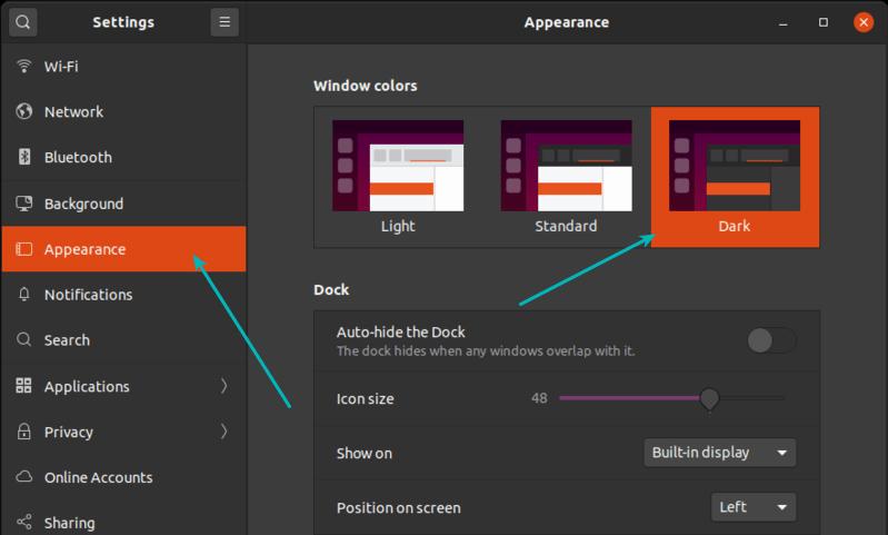 dark mode ubuntu 20.04